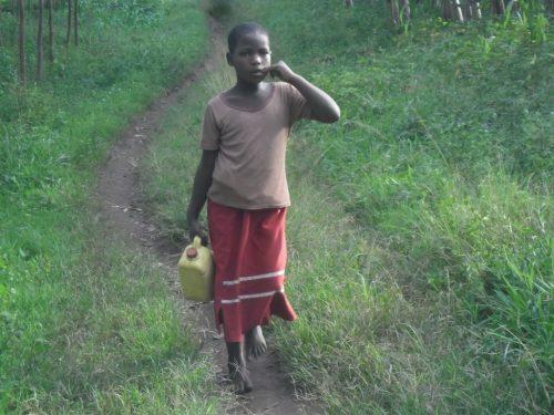 Mira fetching water