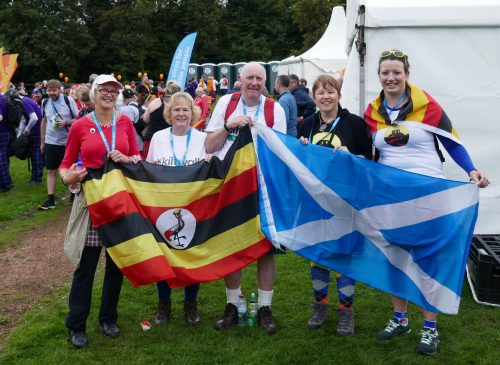 uphill kiltwalkers at the finish