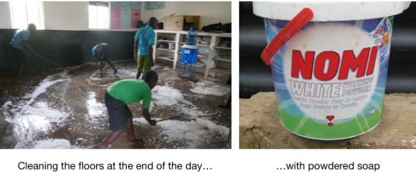 using soap to clean classrooms