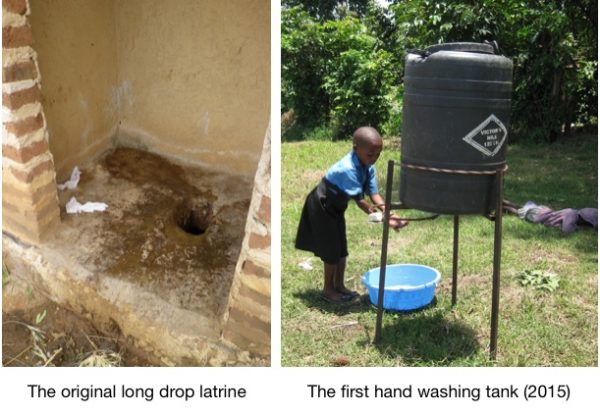 hand washing after using the latrine