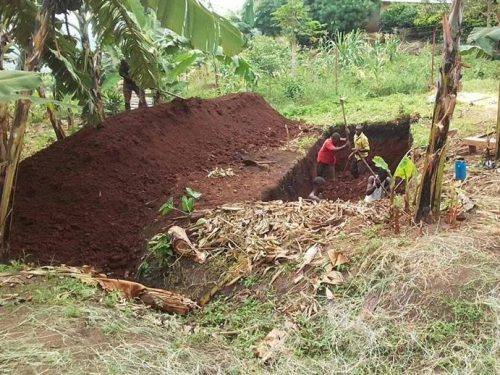 excavating latrine block