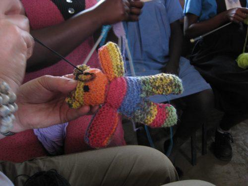 knitting a teddy bear