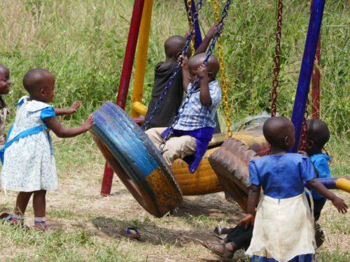 tyre swings in kindergarten playground