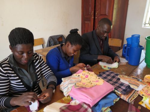 Uphill teachers hand sewing washable sanitary pads