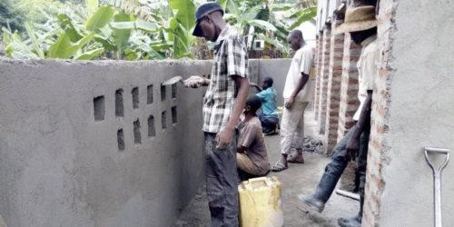 Plastering the latrine